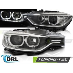 COPPIA DI FARI ANGEL EYES A LED NERI BMW SERIE 3 F30 F31