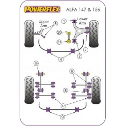 POWERFLEX SUPPORTO PONTE POSTERIORE RETRO ALFA ROMEO 147 156 GT