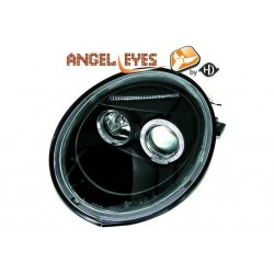 COPPIA DI FANALI ANTERIORI ANGEL EYES NERI VOLKSWAGEN NEW BETTLE (9C, 1Y)