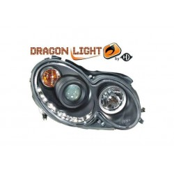 COPPIA FARI ANTERIORI DRAGON LIGHT NERI MERCEDES CLASSE CLK W209