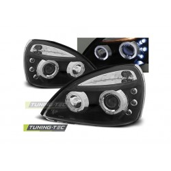 COPPIA DI FARI ANTERIORI ANGEL EYES NERI LED RENAULT CLIO II