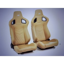 FK AUTOMOTIVE COPPIA DI SEDILI CONFORT IN SIMILPELLE BEIGE ARGENTO
