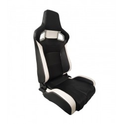 AUTOSTYLE SEDILE ANTERIORE RECLINABILE IN SIMILPELLE NERO BIANCO RS6 II SS68W