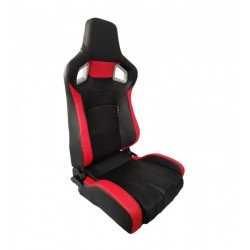 AUTOSTYLE SEDILE ANTERIORE RECLINABILE IN SIMILPELLE NERO ROSSO RS6 II SS68R