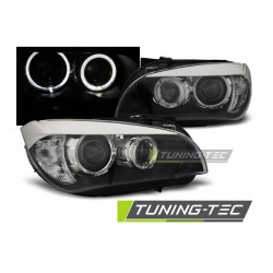COPPIA DI FARI ANTERIORI ANGEL EYES A LED NERI BMW X1 E84