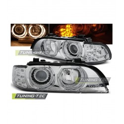 COPPIA DI FARI ANTERIORI ANGEL EYES A LED CROMATI BMW SERIE 5 E39