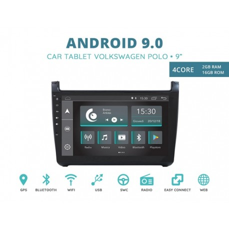 CUSTOM FIT JF-231WPA-XDAB AUTORADIO VOLKSWAGEN POLO DAL 2009 ANDROID QUADCORE