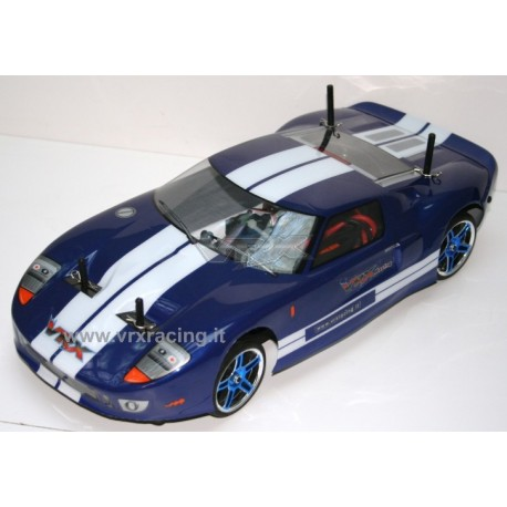 X-RANGER GT motore elettrico brushless ruote cromate, carrozzeria FORD GT + kit luci, Radio 2.4gHz Lipo 7,4V 1/10 RTR 4WD