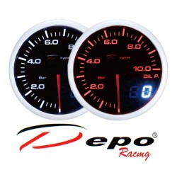 DEPO RACING Manometro Dual View Pressione Olio 0-10 bar DEPO Racing
