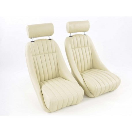 FK AUTOMOTIVE COPPIA DI SEDILI RETRO LOOK IN SIMILPELLE BEIGE FKRSE011075