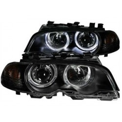 COPPIA DI FARI ANTERIORI ANGEL EYES NERI BMW SERIE 3 E46 COUPE'