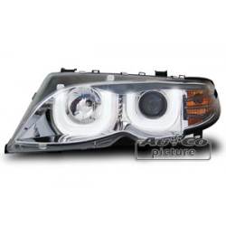 COPPIA DI FARI ANTERIORI ANGEL EYES LED CROMATI BMW SERIE 3 E46