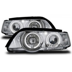 COPPIA DI FARI ANTERIORI ANGEL EYES CROMATI BMW X5 E53