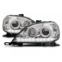 COPPIA DI FARI ANTERIORI ANGEL EYES CROMATI MERCEDES ML W163