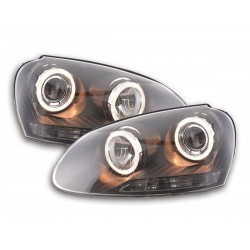 COPPIA DI FARI ANTERIORI ANGEL EYES NERI VOLKSWAGEN GOLF V 5