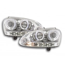 COPPIA DI FARI ANTERIORI ANGEL EYES CROMATI VOLKSWAGEN GOLF V 5