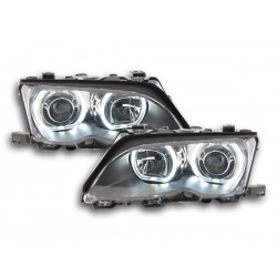 COPPIA DI FARI ANTERIORI ANGEL EYES NERI BMW SERIE 3 E46