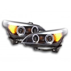 COPPIA DI FARI ANTERIORI ANGEL EYES NERI BMW SERIE 5 E60