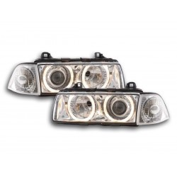 COPPIA DI FARI ANTERIORI XENON ANGEL EYES CROMATI BMW SERIE 3 E36 COUPE'